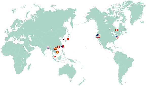 후코이단 및 아가리쿠스, 우미노 시즈쿠는 전 세계적으로 판매되고있다.